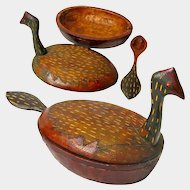 Carved Folk Art Water Fowl Bowl with Lid and Spoon