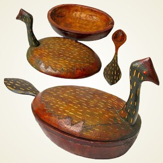 Folk Art Carved Water Fowl Bowl with Spoon