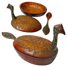 Water Fowl Bowl with Lid and Spoon, Carved Folk Art