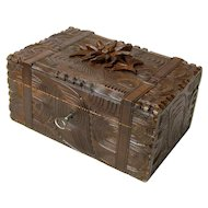 Black Forest Carved Desk Box with Lined Interior and Functioning Lock and Key