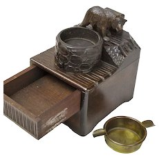 Black Forest Bear Musical Cigarette Box Matchbox Holder and Ashtray, Ca. 1920