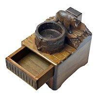 Black Forest Bear Music Cigarette Box Matchbox Holder and Ashtray