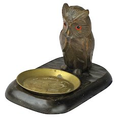 Black Forest Carved Owl Ashtray