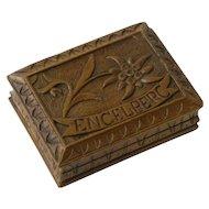 Hand Carved Black Forest Stamp Box, Souvenir of Engelberg Austria