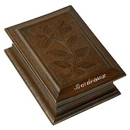 Hand Carved Black Forest Stamp Box, Souvenir of Bordeaux France