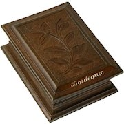 Souvenir of Bordeaux France, Hand Carved Wooden Stamp Box, Black Forest Style