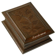 Hand Carved Black Forest Stamp Box, Souvenir of Bordeaux France