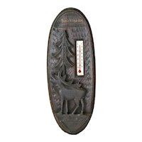 Souvenir Carved Black Forest Style Thermometer Wall Plaque, Berchtesgaden