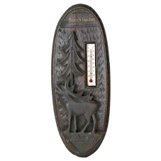 Berchtesgaden Souvenir Carved Black Forest Style Thermometer Wall Plaque