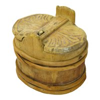 Primitive Carved Butter Tub with Lid, Stave Construction