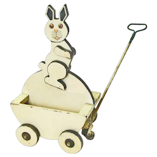 Child's Easter Bunny Pull Cart Toy, Ca. 1880-1900