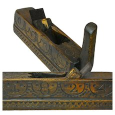 Hand Carved Decorated and Dated Wooden Cabinetmaker's Plane, 1824