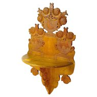 Carved Folk Art Hanging Shelf, Ca. 1880
