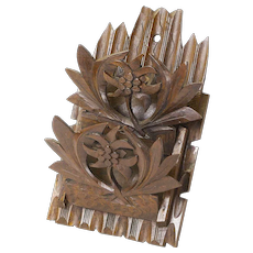 Black Forest Carved Collapsible Victorian Letter Holder, Ca. 1900