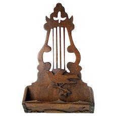 Mahogany Irish Harp Design Comb Case/ Wall Pocket  w/ Decorative Elements