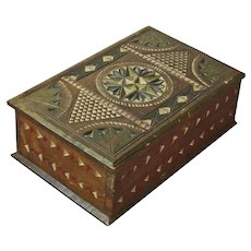 Chip Carved Folk Art Desk Box, Painted, Ca. 1880