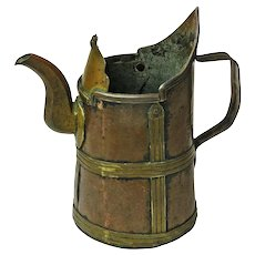Arts and Crafts Copper and Brass Pitcher, Hand Made