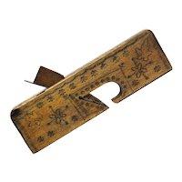 Decorated Antique Wooden Rabbet Plane