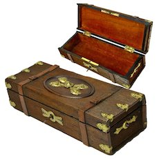 Carved and Lined French Glove Box, Lock and Key, Applied Brass Decorations, Ca. 1900