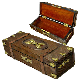 Carved Brass Decorated Lined French Glove Box with Lock and Key, Ca. 1900