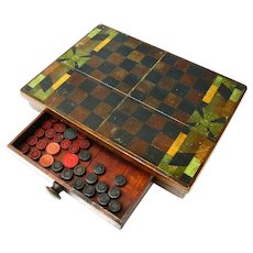 Hand Painted Game Checker Board and Box with  Game Pieces