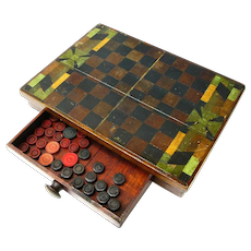 Primitive Handmade Game Board and Box with  Game Pieces