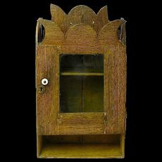 Grain Painted Hanging Cabinet with Glass Door