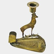 Brass Goberg Signed  Chamois Arts & Crafts Jugendstil Candlestick w/Matchbox Holder, Ca. 1910