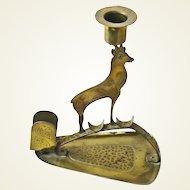 Brass Goberg Signed  Chamois Arts & Crafts Jugendstil Candlestick w/Matchbox Holder, Ca. 1910