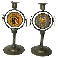 Signed Pair Goberg Candlesticks with Nuremberg Coats of Arms, Ca. 1910