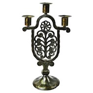 Hammered Iron Goberg Crafted Three Stick Candelabra with Floral Design, Ca. 1910
