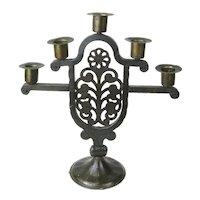 Signed Goberg Hand-Wrought Iron Five Stick Candelabra, Floral Design, Jugendstil