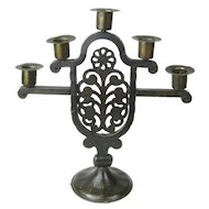 Signed Goberg Hand-Wrought Iron Five Stick Candelabra, Floral Design, Jugendstil
