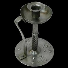 Hand Hammered Iron Goberg Chamberstick, Signed, Ca. 1900-1910