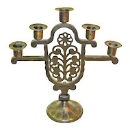 Goberg Hand-Wrought Iron Five Stick Candelabrum, Jugendstil Era