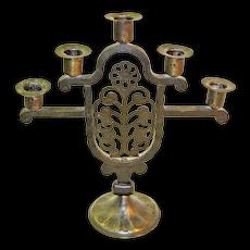Goberg Hand-Wrought Iron Five Stick Candelabrum, Jugendstil Era