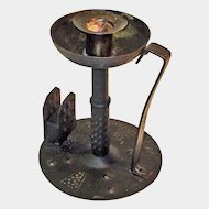 Hand Hammered Wrought Iron Goberg Chamberstick w/ Matchbox Holder, Ca. 1900-1910
