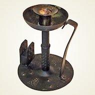 Hand Hammered Wrought Iron Goberg Chamberstick w/ Matchbox Holder, Ca. 1900-1910
