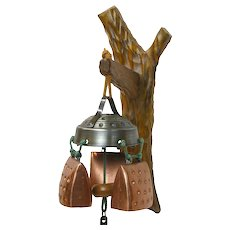 Goberg Style 3 Bell Wind Chimes on Swiss Carved Wooden Wall Mount