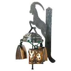Goberg Style 3 Bell Wind Chime Set on Iron Chamois Wall Mount