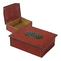 Goberg Painted Hammered Iron Cigarette Box, Stash Box, Germany
