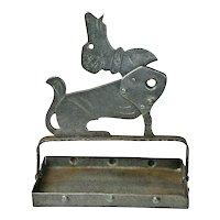 Iron Dachshund Dog Cigar Cutter and Ashtray, Signed Goberg, Ca. 1910