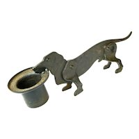 Hand Crafted Iron Dachshund Dog Cigar Cutter and Match Holder, Ca. 1910-20