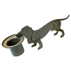 Hand Crafted Iron Dachshund Dog Cigar Cutter and Match Holder, Ca. 1910-20