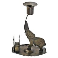Signed Goberg Hammered Iron Elephant Candlestick with Matchbox Holder,  Germany, Ca. 1910