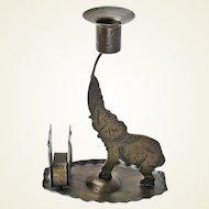 Signed Goberg Hammered Iron Elephant Candlestick with Matchbox Holder,  Germany, Ca. 1910