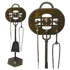 Rare Signed Goberg Fireplace Tool Set, Ca. 1910