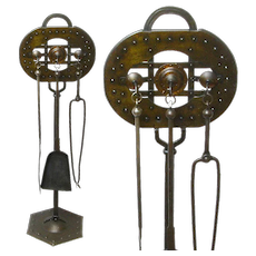 Signed Goberg Fireplace Tool Set, Ca. 1910