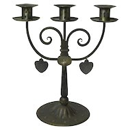 Signed Goberg Hand-Wrought Iron Three Stick Candelabra with Dangling Hearts