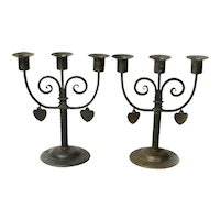 Matched Pair Signed Goberg Iron Candelabras with Dangling Hearts